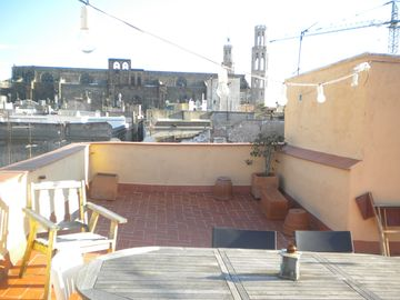 Huge shared roof terrace with views of the church