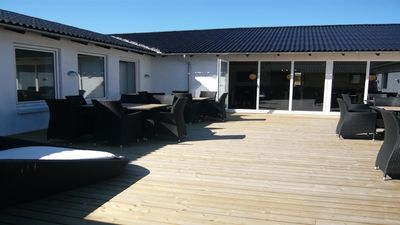 Large house with pool for 30 persons at the North Sea