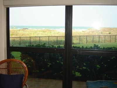 View of dunes & gulf waters from inside