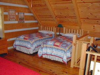 Clayton cabin photo - Loft twin Beds (hand crafted beds)