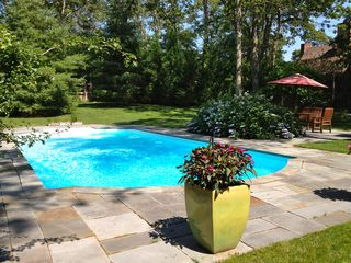 East Hampton house photo - view of pool with outside dining