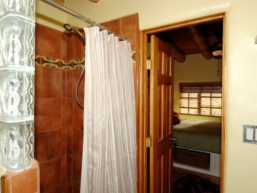 Bath Has Walk in Talavera Tile Shower Linens Provided