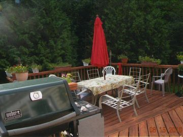 Portion of rear deck and barbecue area
