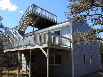 Katama house rental - Picture from rear showing 2nd floor deck and 3rd floor rooftop deck.