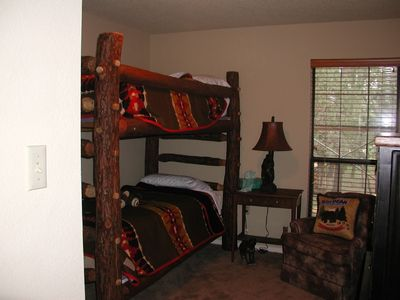 Log bunk beds, great room for sleeping!
