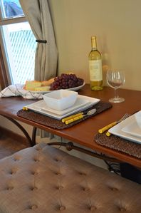 Console Table Converts to Dining Table. Enjoy a Complimentary Bottle of Wine.
