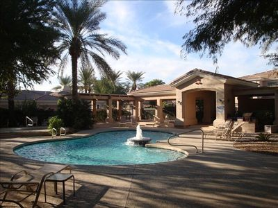 Heated Pool, jacuzzi and elegant, open-air common area.