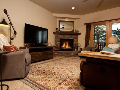 Main Living Space - 3D Smart TV, Gas Fireplace and Deck