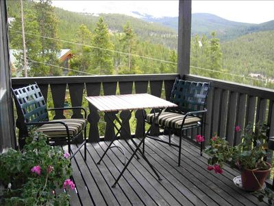 Relax on the large private deck.