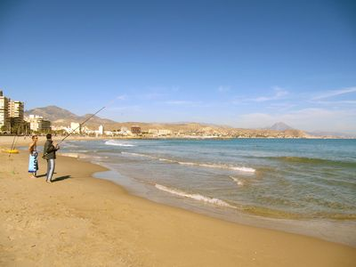 Fishing on the beach in El Campello