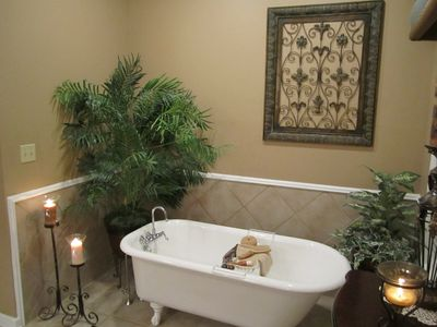 Unwind in a long hot bath in the antique clawfoot tub in the master bath.