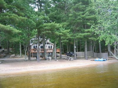 Front of Camp and private sandy beach.