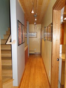 Frisco townhome rental - Hallway View Between Master Suites and Stairs to Loft Bedroom