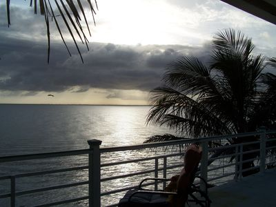 Anna Maria house rental - Afternoon thundershower from beachfront deck