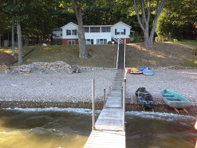 Keeseville house rental - Looking back at the camp from the end of the dock.