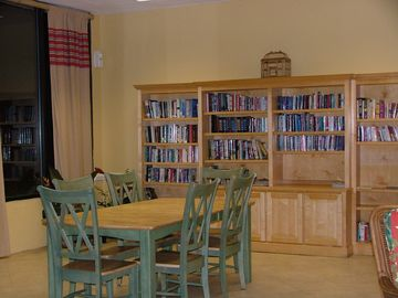 A library, exercise room, in-door and out-door hot tubs ar all your to enjoy!