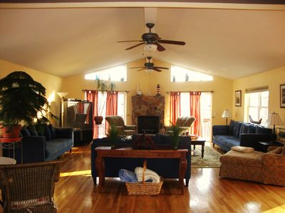 Bushkill house rental - Great room with sliders, leading to wraparound deck.