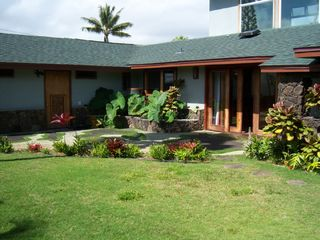 Kailua house photo - front yard with water feature