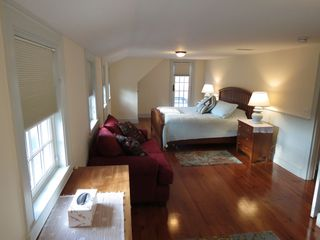 Harwich - Harwichport house photo - Spacious master bedroom on upper level has a king bed and shared deck...