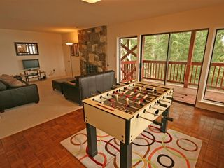 Pender Island house photo - Gamesroom with Ocean View and Wood Burning Fireplace