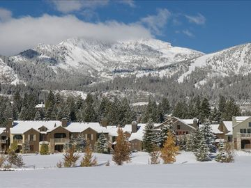 Mammoth Lakes townhome rental - Here is our Home! with Mammoth Mountain in Back!
