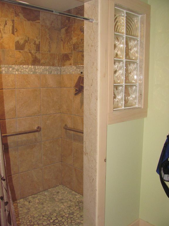 This is the Master accessible roll in tile shower!
