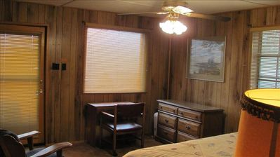 Master bed room has large windows, view of Sierra Blanca, and king bed.
