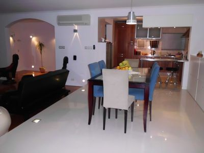 Dining table, kitchen & lounge