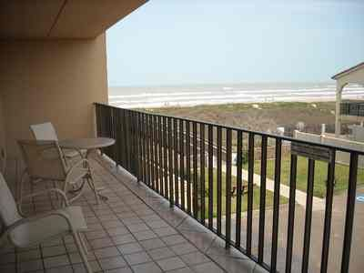 South Padre Island condo rental - Large south balcony with water and beach view