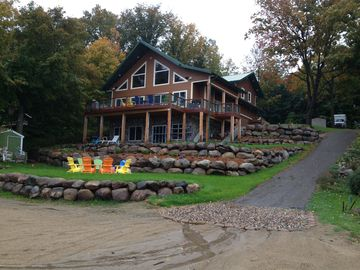 Annandale cabin rental - Massive deck, firepit with adirondack chairs and huge beach,