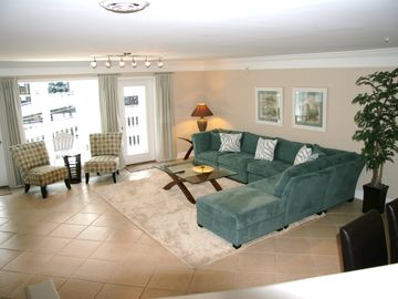 Crescent Beach villa rental - Living room in PP3 our 8 bedroom villa. It has balconies facing the Ocean.
