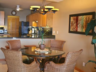 Kitchen remodeled and furnishings refreshed in plantation style, September 2012.