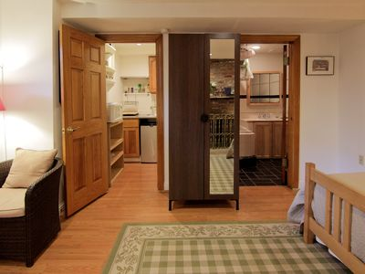 This studio features a separate kitchenette and private bathroom and a wardrobe.