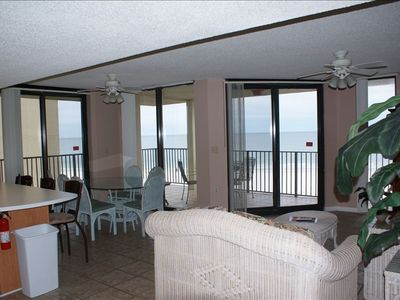 Great View of beach, floor to ceiling windows. VERY Large living area.