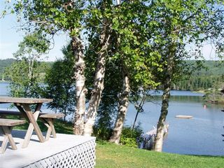 Baddeck house photo - View of Lake, Dock & Raft-from Deck Casual Dining Area