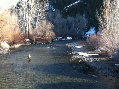 Ketchum condo rental - Fly Fishing on the Big Wood River in Front of River Run Lodge