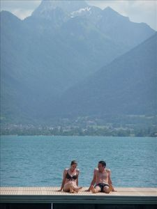 Swimming pontoon at Talloires Beach