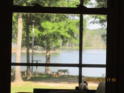Leesville house rental - view out living room windows