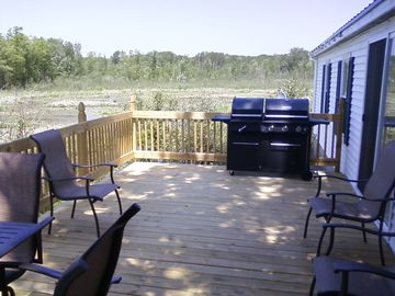 The back deck has an LP/ Charcoal grille