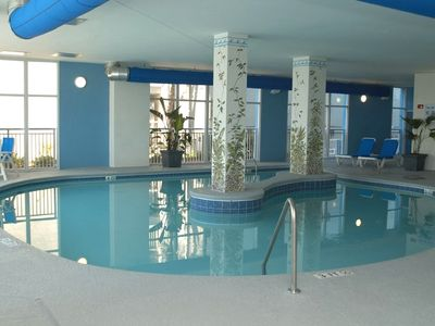 One of 3 indoor and outdoor heated pools and lazy rivers.
