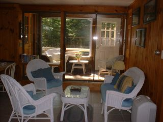 Somesville chalet photo - Lower Level Family room, Lower Sunroom entry...plus inside stairway access