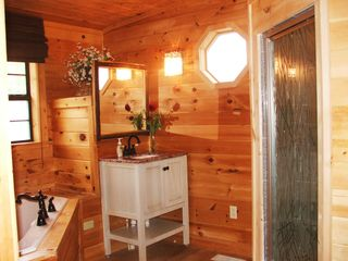 Pigeon Forge cabin photo - Master bathroom marble tile walk-in shower and jacuzzi