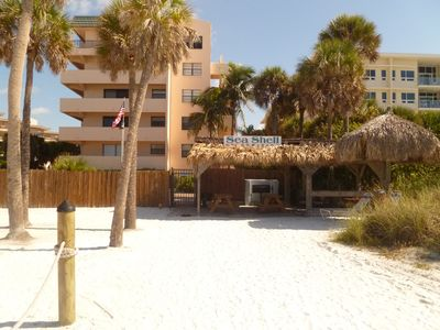 View of Sea Shell Condominiums & Tiki Hut from the beach