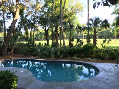 Large 36 foot pool, with golf course views.