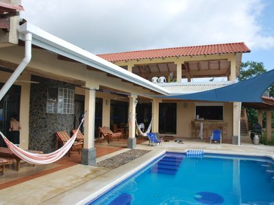 Terraza to pool - plenty of room for hammock time, family time, or escape.