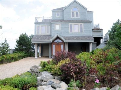 Plum Island house rental - View from street - sunset deck on upper left; sundeck on right hand side