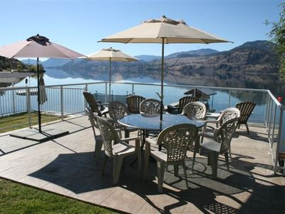 Large Lakeside Deck with Sun Umbrellas