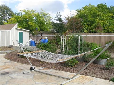Sonoma house rental - Hammock on Patio next to Rose Garden
