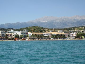 Almyrida and White mountains from the sea