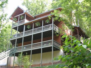 Ellijay cabin photo - Covered Decks on Three Levels Overlooking the Coosawattee River
